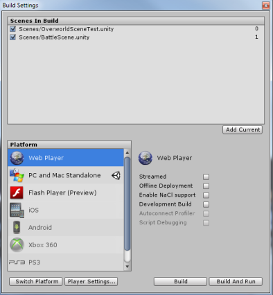 Unity build settings menu